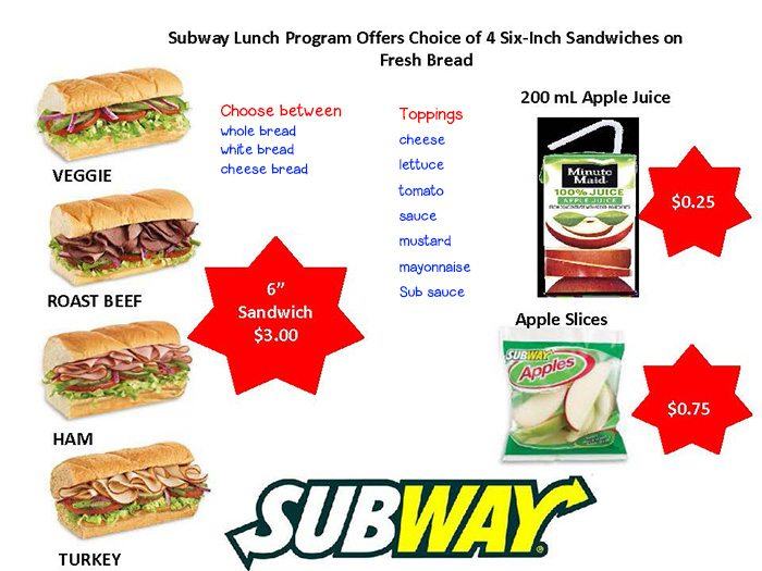 subway lunches